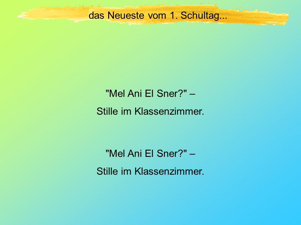 das Neueste vom 1.Schultag... Mel Ani El Sner? – Stille im Klassenzimmer.
