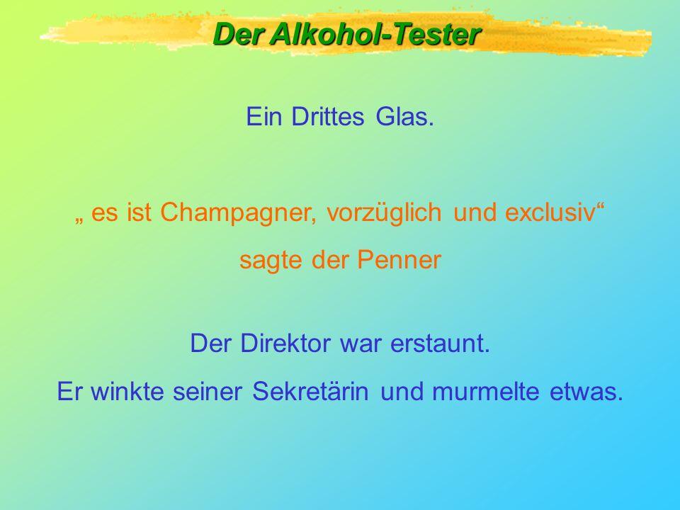 Ein anderes Glas. Es ist Rotwein, Cabernet, acht Jahre alt, eine Süd-west Lage, Eichenfass Richtig Der Alkohol-Tester