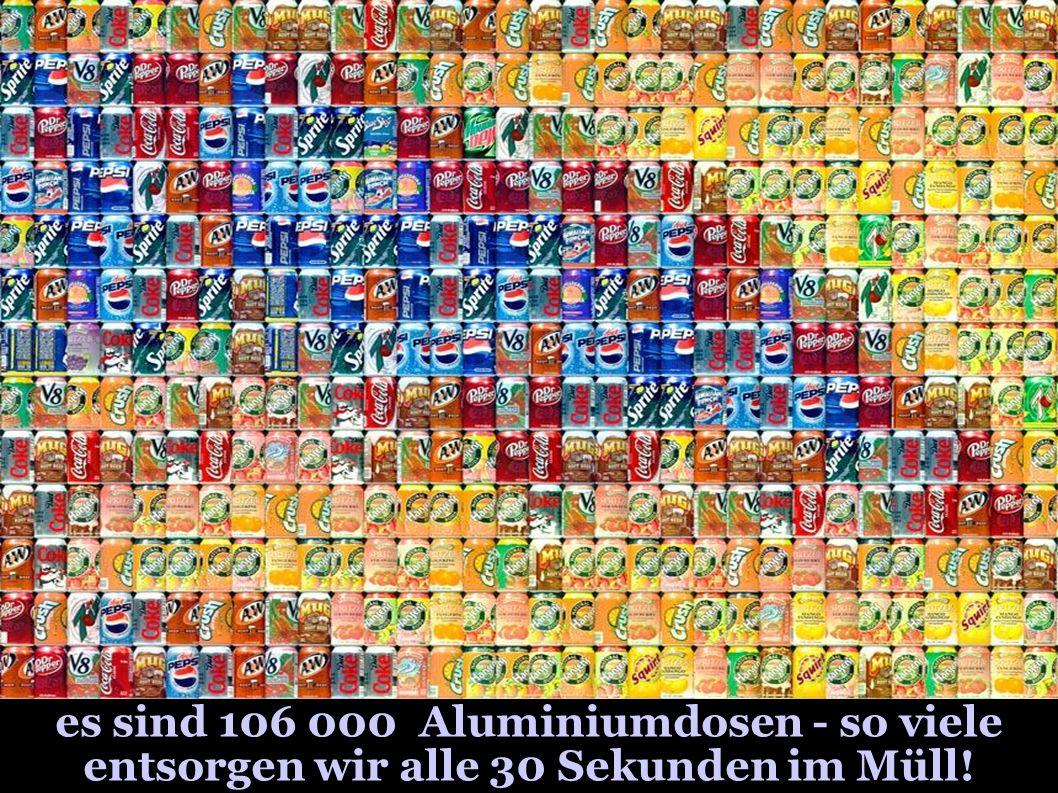 es sind 106 000 Aluminiumdosen - so viele entsorgen wir alle 30 Sekunden im Müll!
