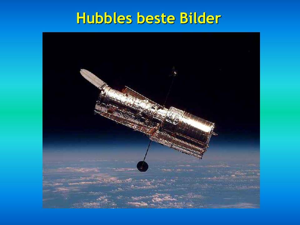 Das Hubble-Teleskop befindet sich außerhalb unserer Atmosphäre und kreist in 593 km Höhe über dem Meeresspiegel in einer Zeit von 96 bis 97 Minuten un
