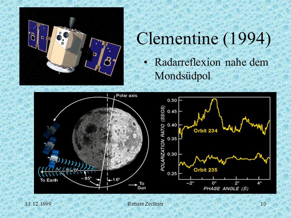 13.12.1999Renate Zechner10 Clementine (1994) Radarreflexion nahe dem Mondsüdpol