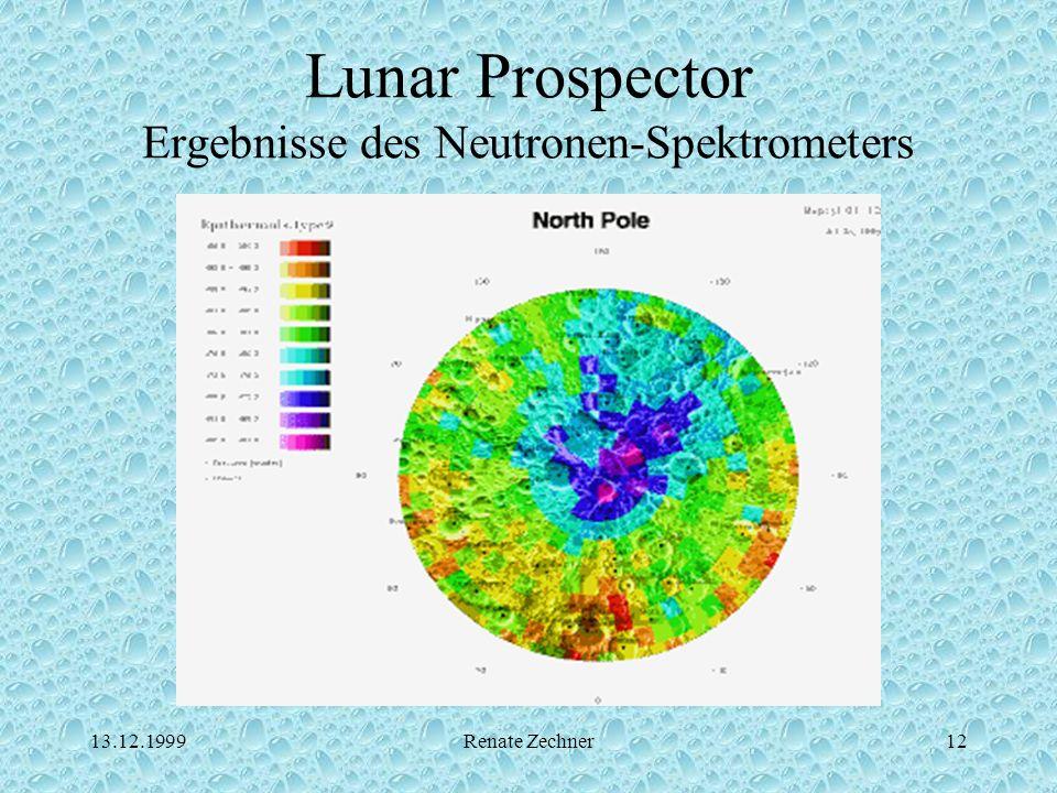 13.12.1999Renate Zechner12 Lunar Prospector Ergebnisse des Neutronen-Spektrometers