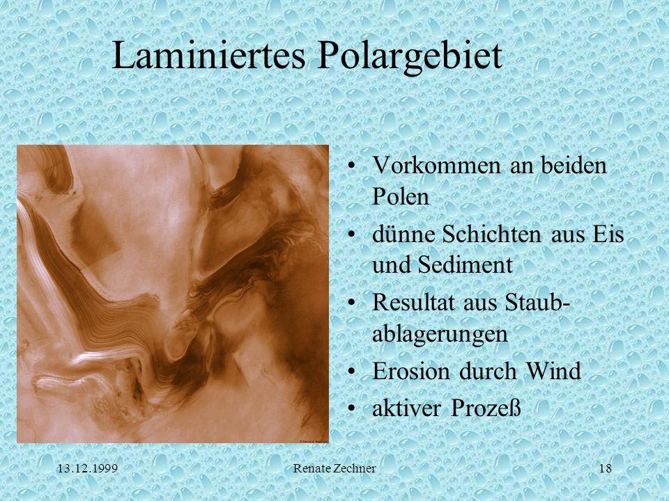 13.12.1999Renate Zechner18 Laminiertes Polargebiet Vorkommen an beiden Polen dünne Schichten aus Eis und Sediment Resultat aus Staub- ablagerungen Ero