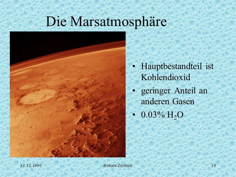 13.12.1999Renate Zechner19 Die Marsatmosphäre Hauptbestandteil ist Kohlendioxid geringer Anteil an anderen Gasen 0.03% H 2 O