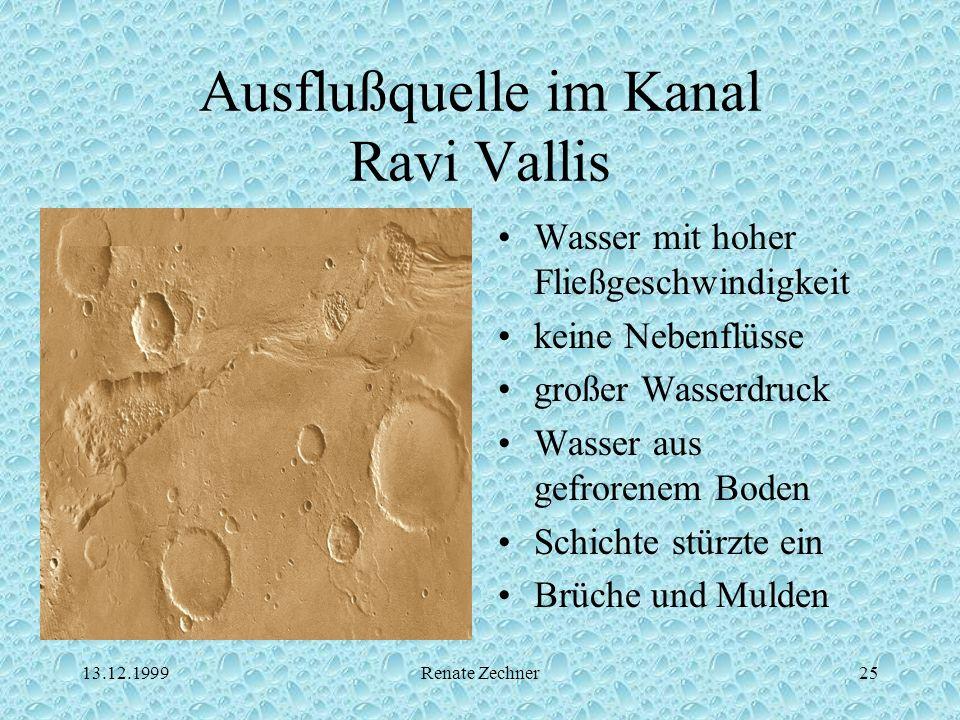 13.12.1999Renate Zechner25 Ausflußquelle im Kanal Ravi Vallis Wasser mit hoher Fließgeschwindigkeit keine Nebenflüsse großer Wasserdruck Wasser aus ge