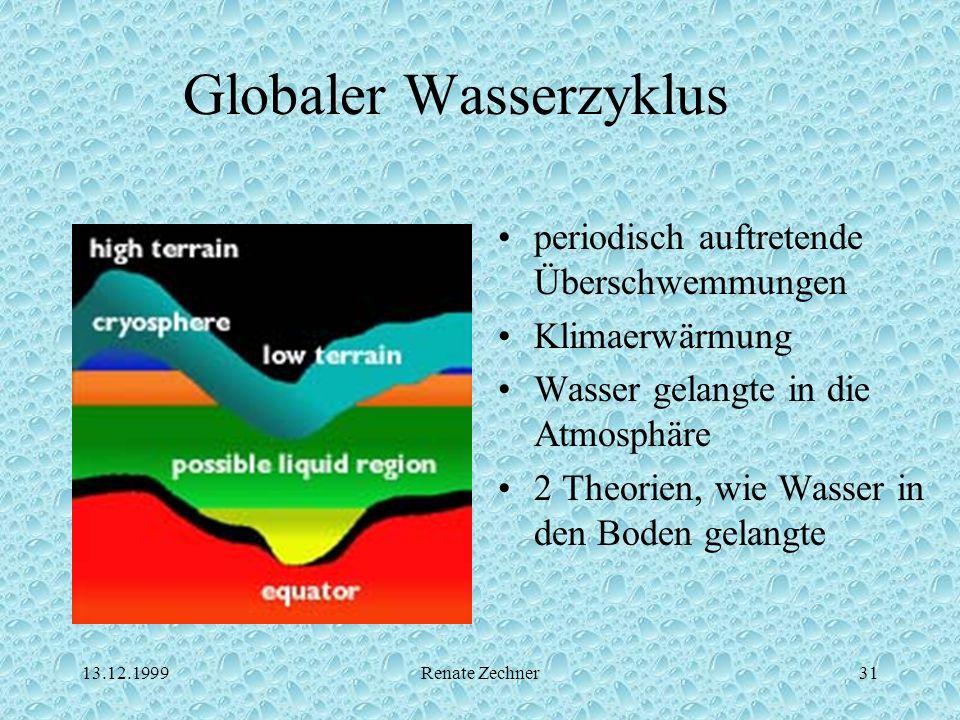 13.12.1999Renate Zechner31 Globaler Wasserzyklus periodisch auftretende Überschwemmungen Klimaerwärmung Wasser gelangte in die Atmosphäre 2 Theorien,