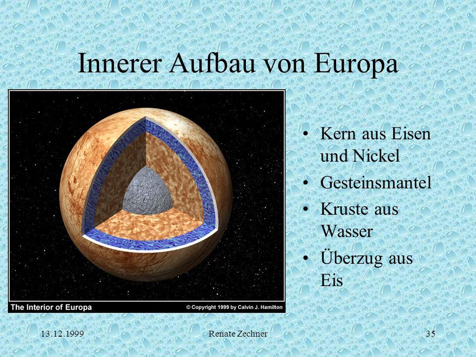 13.12.1999Renate Zechner35 Innerer Aufbau von Europa Kern aus Eisen und Nickel Gesteinsmantel Kruste aus Wasser Überzug aus Eis