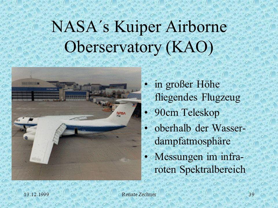 13.12.1999Renate Zechner39 NASA´s Kuiper Airborne Oberservatory (KAO) in großer Höhe fliegendes Flugzeug 90cm Teleskop oberhalb der Wasser- dampfatmos