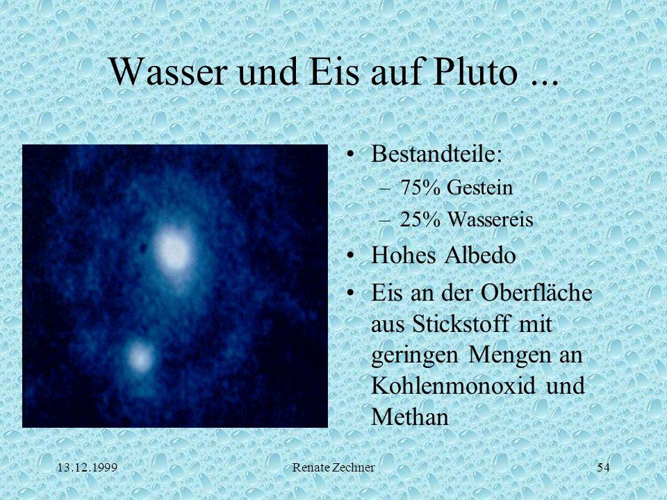 13.12.1999Renate Zechner54 Wasser und Eis auf Pluto... Bestandteile: –75% Gestein –25% Wassereis Hohes Albedo Eis an der Oberfläche aus Stickstoff mit