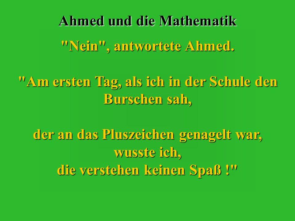 Ahmed und die Mathematik Sie lief in sein Zimmer hinauf, schlang die Arme um ihn und fragte :
