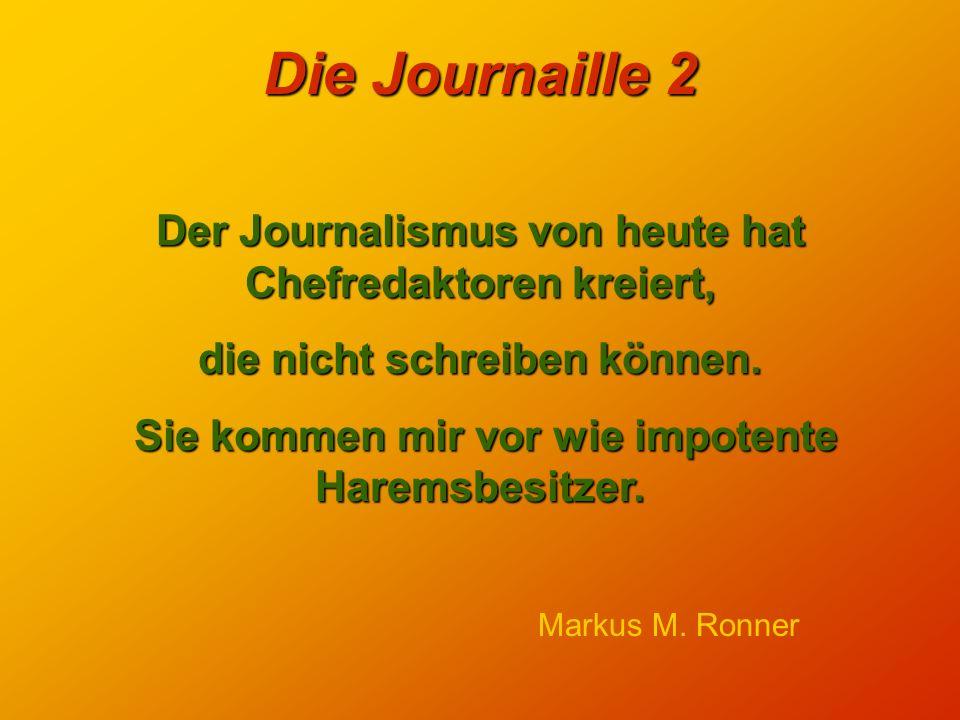 Die Journaille 2 Der Journalismus von heute hat Chefredaktoren kreiert, die nicht schreiben können.