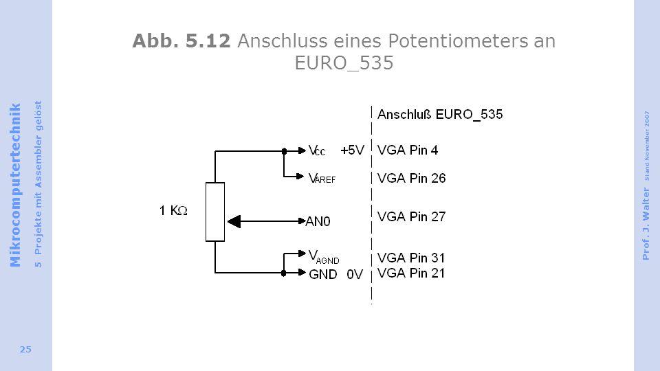Mikrocomputertechnik 5 Projekte mit Assembler gelöst Prof. J. Walter Stand November 2007 25 Abb. 5.12 Anschluss eines Potentiometers an EURO_535