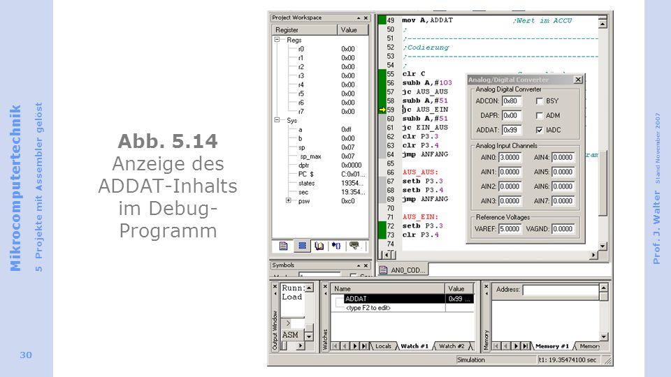 Mikrocomputertechnik 5 Projekte mit Assembler gelöst Prof. J. Walter Stand November 2007 30 Abb. 5.14 Anzeige des ADDAT-Inhalts im Debug- Programm