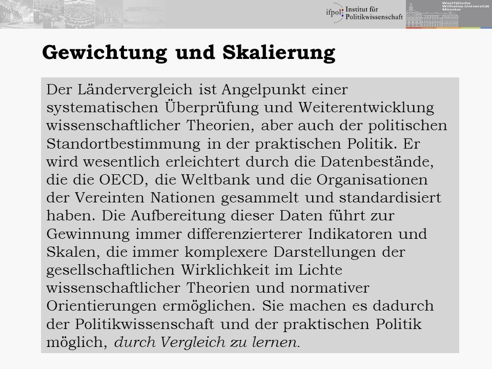 Gewichtung und Skalierung Der Ländervergleich ist Angelpunkt einer systematischen Überprüfung und Weiterentwicklung wissenschaftlicher Theorien, aber auch der politischen Standortbestimmung in der praktischen Politik.