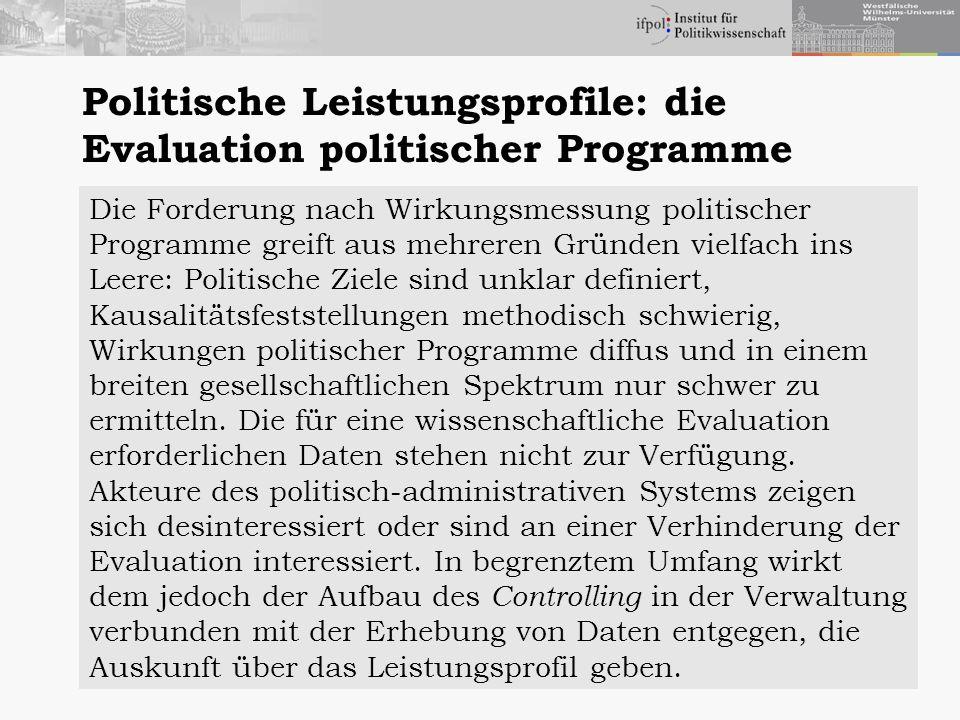 Politische Leistungsprofile: die Evaluation politischer Programme Die Forderung nach Wirkungsmessung politischer Programme greift aus mehreren Gründen
