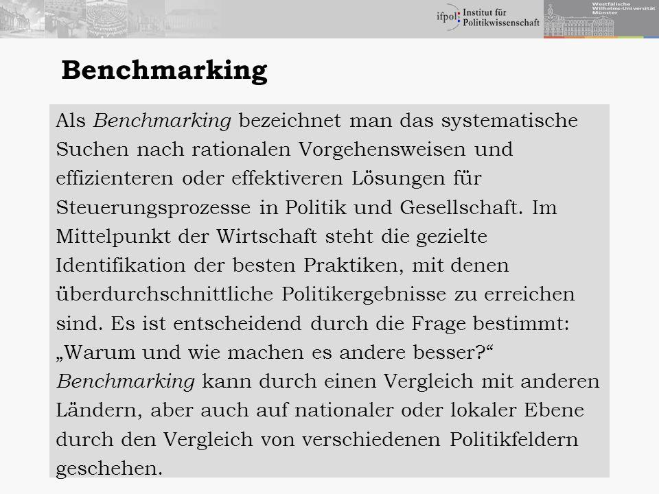 Benchmarking Als Benchmarking bezeichnet man das systematische Suchen nach rationalen Vorgehensweisen und effizienteren oder effektiveren Lösungen für Steuerungsprozesse in Politik und Gesellschaft.