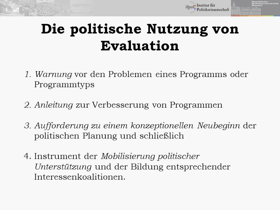 Die politische Nutzung von Evaluation 1.Warnung vor den Problemen eines Programms oder Programmtyps 2.Anleitung zur Verbesserung von Programmen 3.Auff