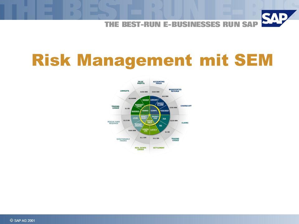 SAP AG 2001, Risk Management, Page 12 Risiko Management: Quantifizierung von Risiken Dezentrale Erfassung – unabhängig von der BSC - mittels Web Erfassung Erwartungswert Best Case Worst Case etc.
