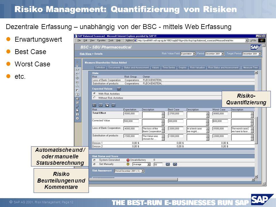 SAP AG 2001, Risk Management, Page 12 Risiko Management: Quantifizierung von Risiken Dezentrale Erfassung – unabhängig von der BSC - mittels Web Erfas