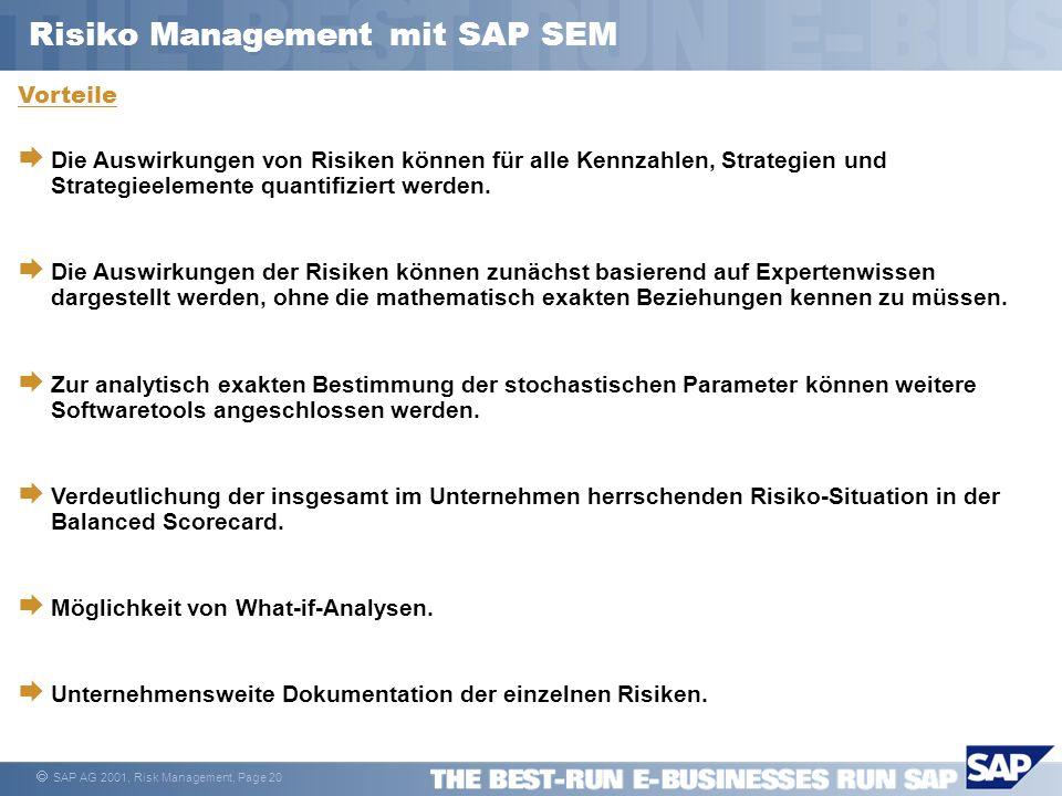 SAP AG 2001, Risk Management, Page 20 Vorteile Die Auswirkungen von Risiken können für alle Kennzahlen, Strategien und Strategieelemente quantifiziert