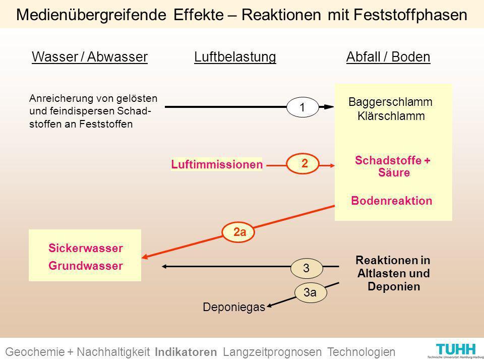 Geochemie + Nachhaltigkeit Indikatoren Ursachen + Wirkungen Technologien Medienübergreifende Effekte – Reaktionen mit Feststoffphasen Wasser / Abwasse