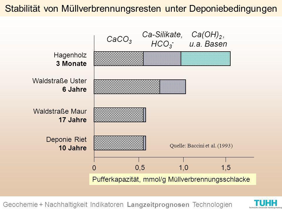 Geochemie + Nachhaltigkeit Indikatoren Ursachen + Wirkungen Technologien Stabilität von Müllverbrennungsresten unter Deponiebedingungen CaCO 3 Ca-Sili