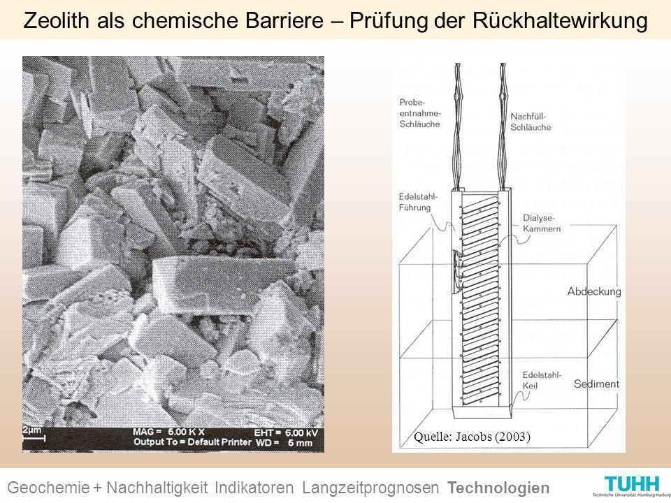 Geochemie + Nachhaltigkeit Indikatoren Ursachen + Wirkungen Technologien Zeolith als chemische Barriere – Prüfung der Rückhaltewirkung Geochemie + Nac