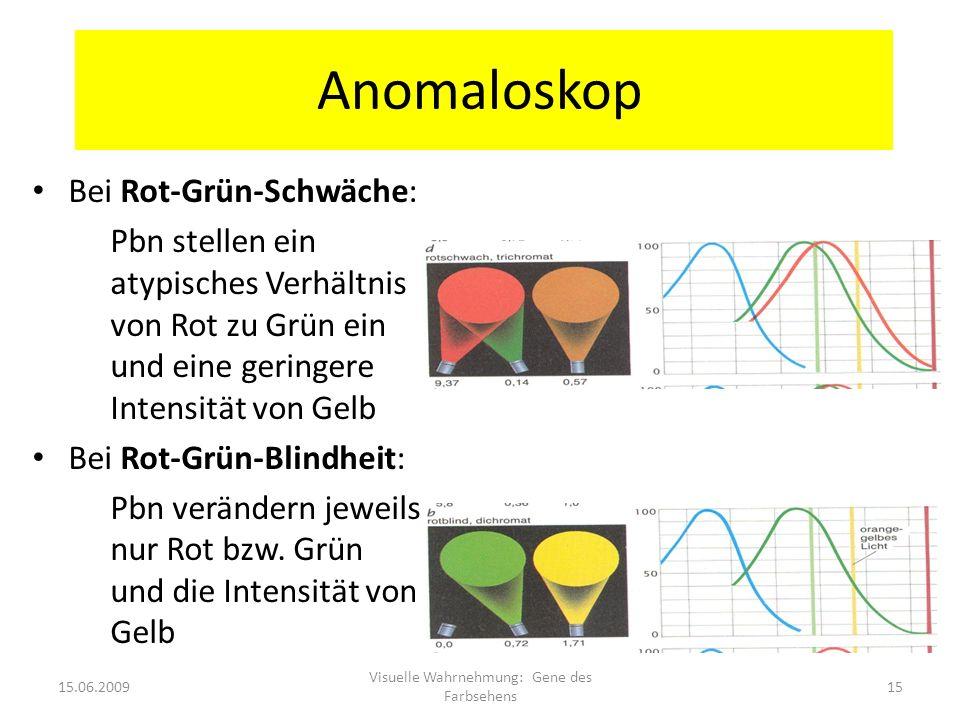 Anomaloskop Bei Rot-Grün-Schwäche: Pbn stellen ein atypisches Verhältnis von Rot zu Grün ein und eine geringere Intensität von Gelb Bei Rot-Grün-Blind