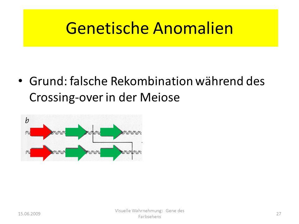 Genetische Anomalien Grund: falsche Rekombination während des Crossing-over in der Meiose 15.06.200927 Visuelle Wahrnehmung: Gene des Farbsehens