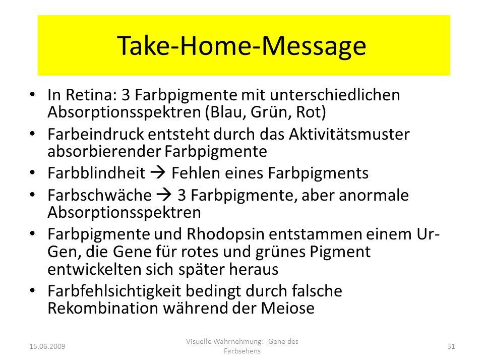 Take-Home-Message In Retina: 3 Farbpigmente mit unterschiedlichen Absorptionsspektren (Blau, Grün, Rot) Farbeindruck entsteht durch das Aktivitätsmust