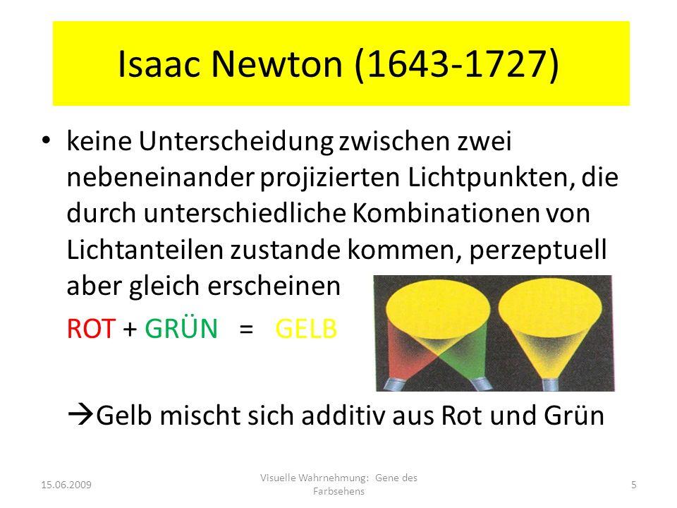 Isaac Newton (1643-1727) keine Unterscheidung zwischen zwei nebeneinander projizierten Lichtpunkten, die durch unterschiedliche Kombinationen von Lich