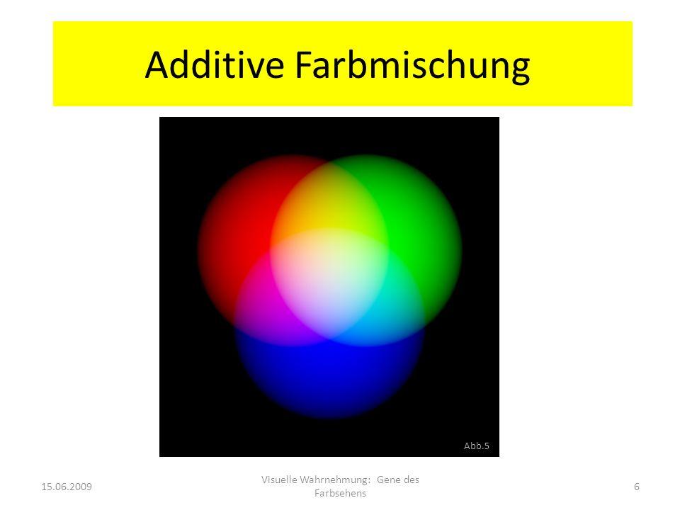 Additive Farbmischung 15.06.20096 Visuelle Wahrnehmung: Gene des Farbsehens Abb.5