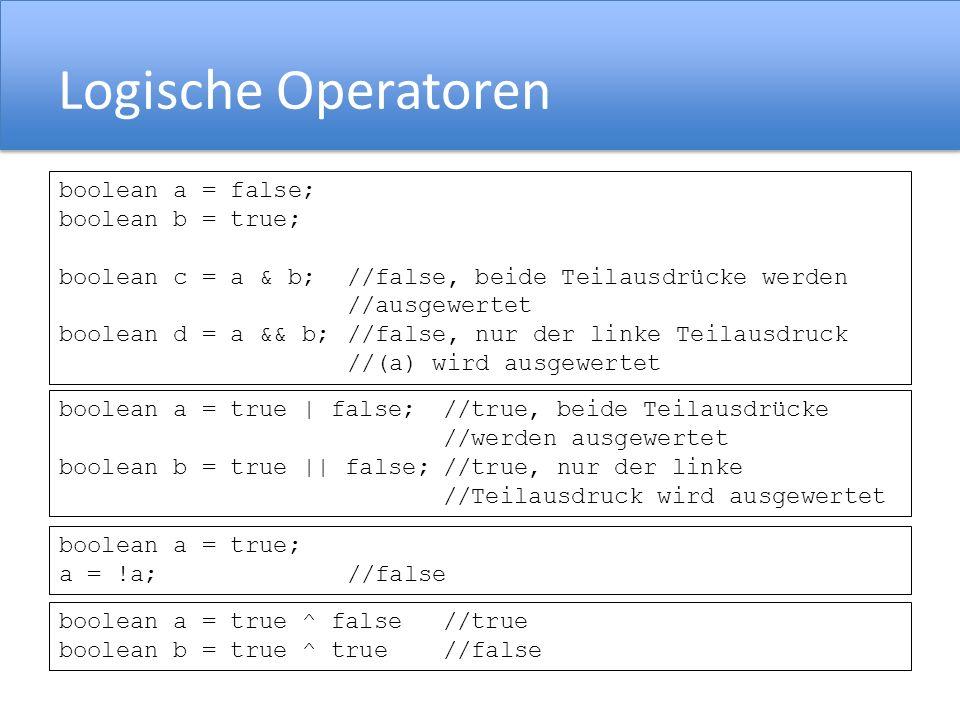 Logische Operatoren boolean a = true; a = !a; //false boolean a = false; boolean b = true; boolean c = a & b;//false, beide Teilausdrücke werden //ausgewertet boolean d = a && b;//false, nur der linke Teilausdruck //(a) wird ausgewertet boolean a = true | false;//true, beide Teilausdrücke //werden ausgewertet boolean b = true || false;//true, nur der linke //Teilausdruck wird ausgewertet boolean a = true ^ false //true boolean b = true ^ true //false