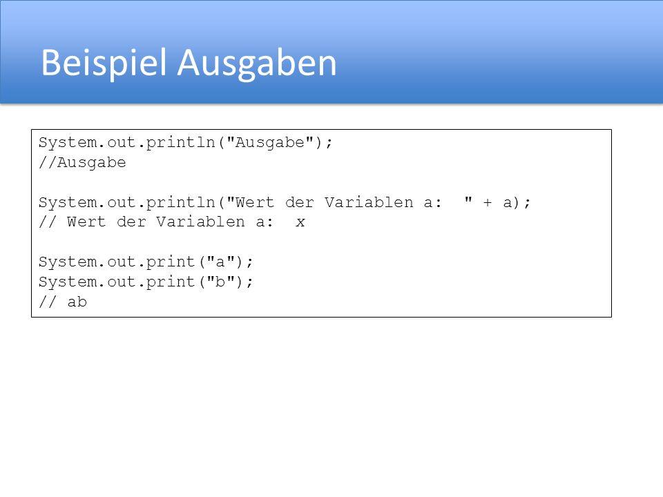 break Ausbruch aus Schleifen und switch Anweisung int i = 10; while ( true ){ i = i-1; if ( i == 0 ) { break; } switch(i){ case 0: System.out.println( i = 0 ); break; case 1: System.out.println( i = 1 ); break; }