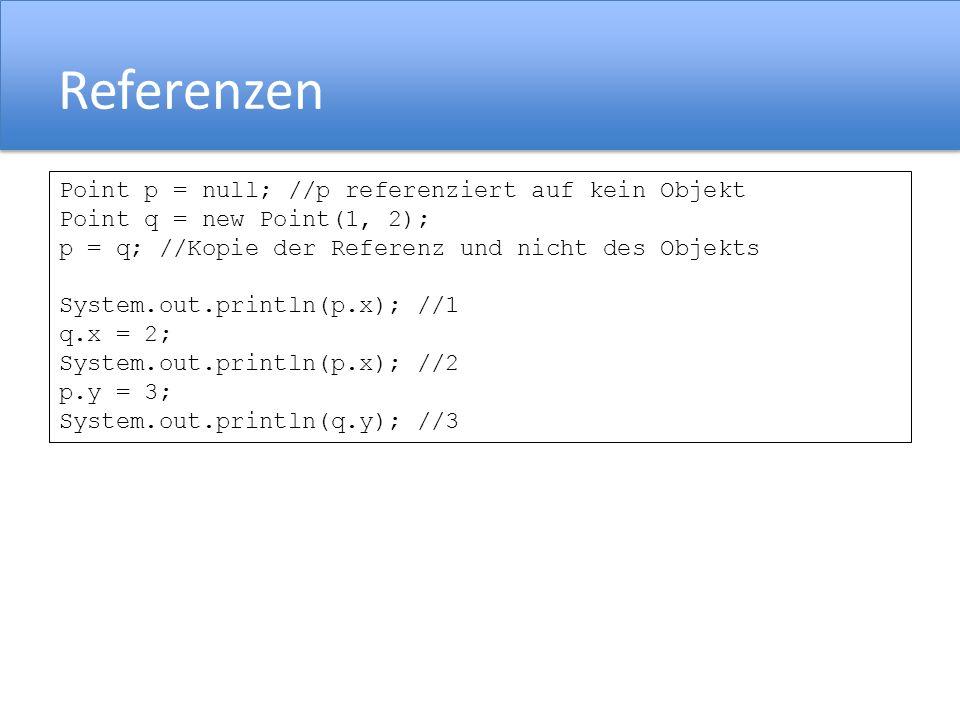 Referenzen Point p = null; //p referenziert auf kein Objekt Point q = new Point(1, 2); p = q; //Kopie der Referenz und nicht des Objekts System.out.println(p.x); //1 q.x = 2; System.out.println(p.x); //2 p.y = 3; System.out.println(q.y); //3