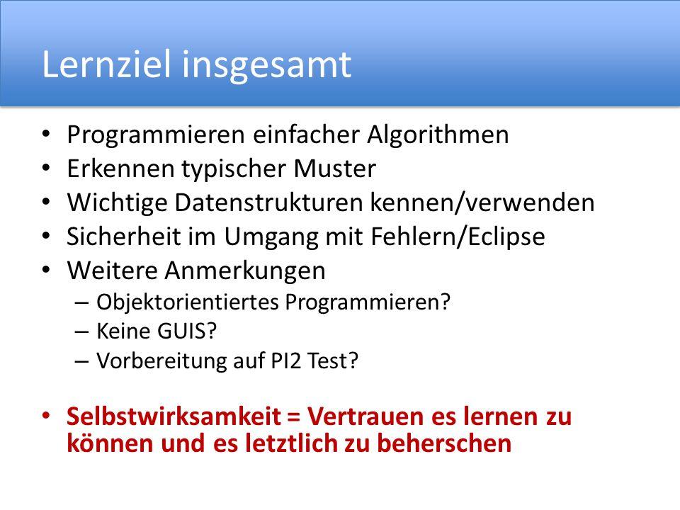 Lernziel insgesamt Programmieren einfacher Algorithmen Erkennen typischer Muster Wichtige Datenstrukturen kennen/verwenden Sicherheit im Umgang mit Fehlern/Eclipse Weitere Anmerkungen – Objektorientiertes Programmieren.