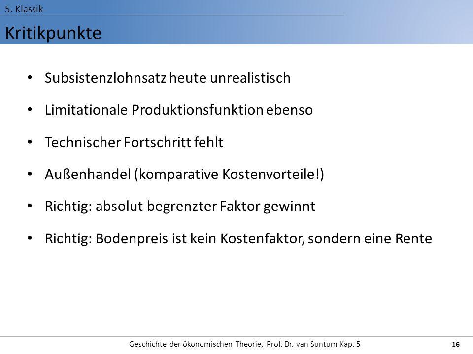 Kritikpunkte 5.Klassik Geschichte der ökonomischen Theorie, Prof.