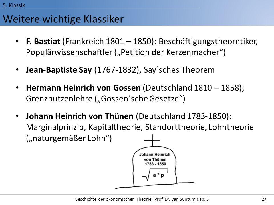 Weitere wichtige Klassiker 5.Klassik Geschichte der ökonomischen Theorie, Prof.