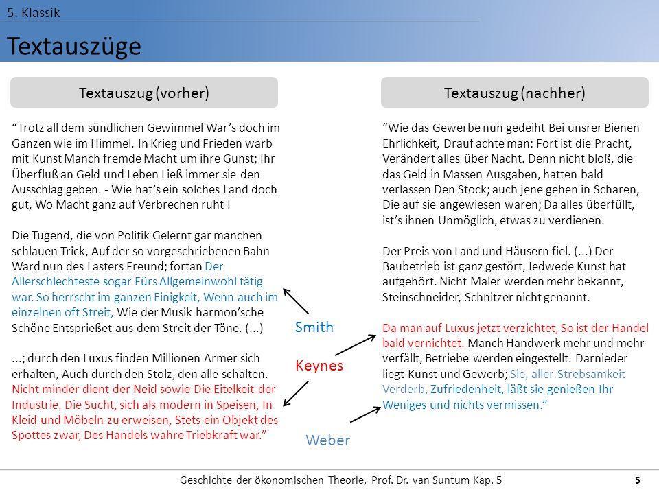 Textauszüge 5.Klassik Geschichte der ökonomischen Theorie, Prof.