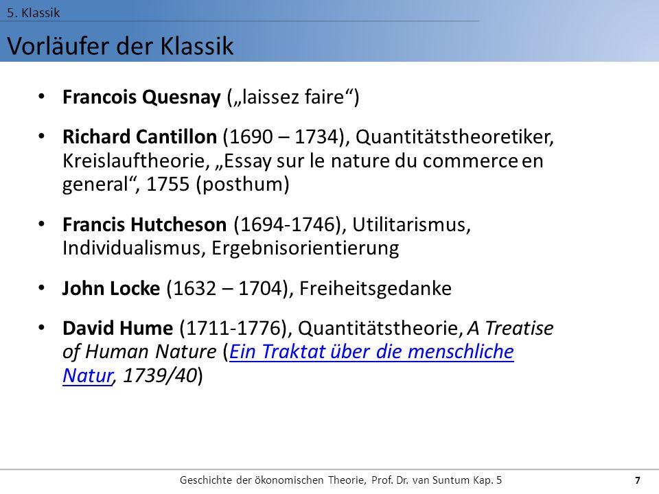Vorläufer der Klassik 5.Klassik Geschichte der ökonomischen Theorie, Prof.