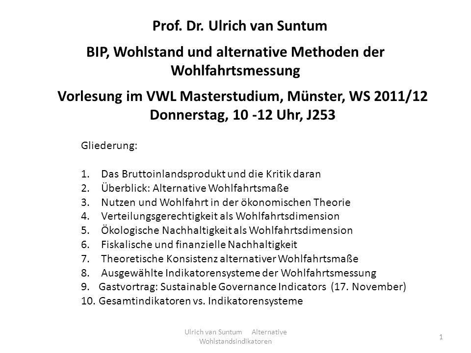 Vorlesung im VWL Masterstudium, Münster, WS 2011/12 Donnerstag, 10 -12 Uhr, J253 Prof. Dr. Ulrich van Suntum BIP, Wohlstand und alternative Methoden d