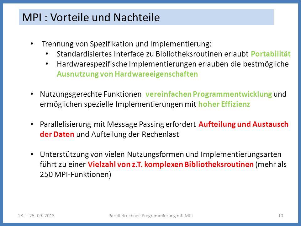 23. – 25. 09. 2013Parallelrechner-Programmierung mit MPI10 MPI : Vorteile und Nachteile Trennung von Spezifikation und Implementierung: Standardisiert