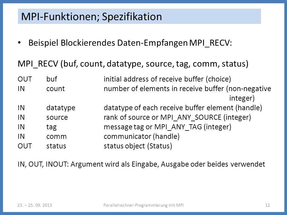 23. – 25. 09. 2013Parallelrechner-Programmierung mit MPI12 MPI-Funktionen; Spezifikation Beispiel Blockierendes Daten-Empfangen MPI_RECV: MPI_RECV (bu