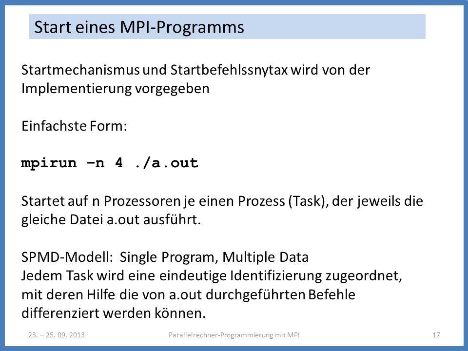 23. – 25. 09. 2013Parallelrechner-Programmierung mit MPI17 Start eines MPI-Programms Startmechanismus und Startbefehlssnytax wird von der Implementier