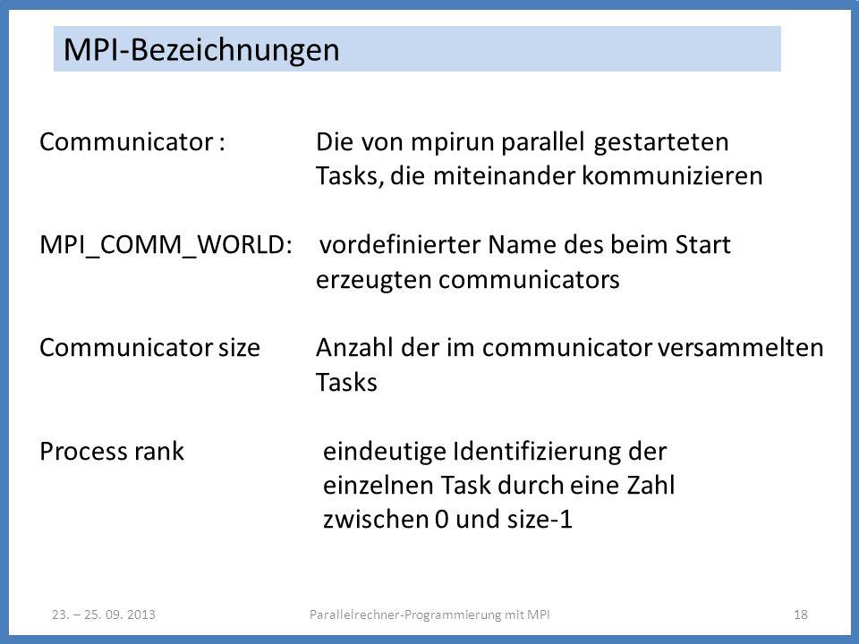 23. – 25. 09. 2013Parallelrechner-Programmierung mit MPI18 MPI-Bezeichnungen Communicator : Die von mpirun parallel gestarteten Tasks, die miteinander