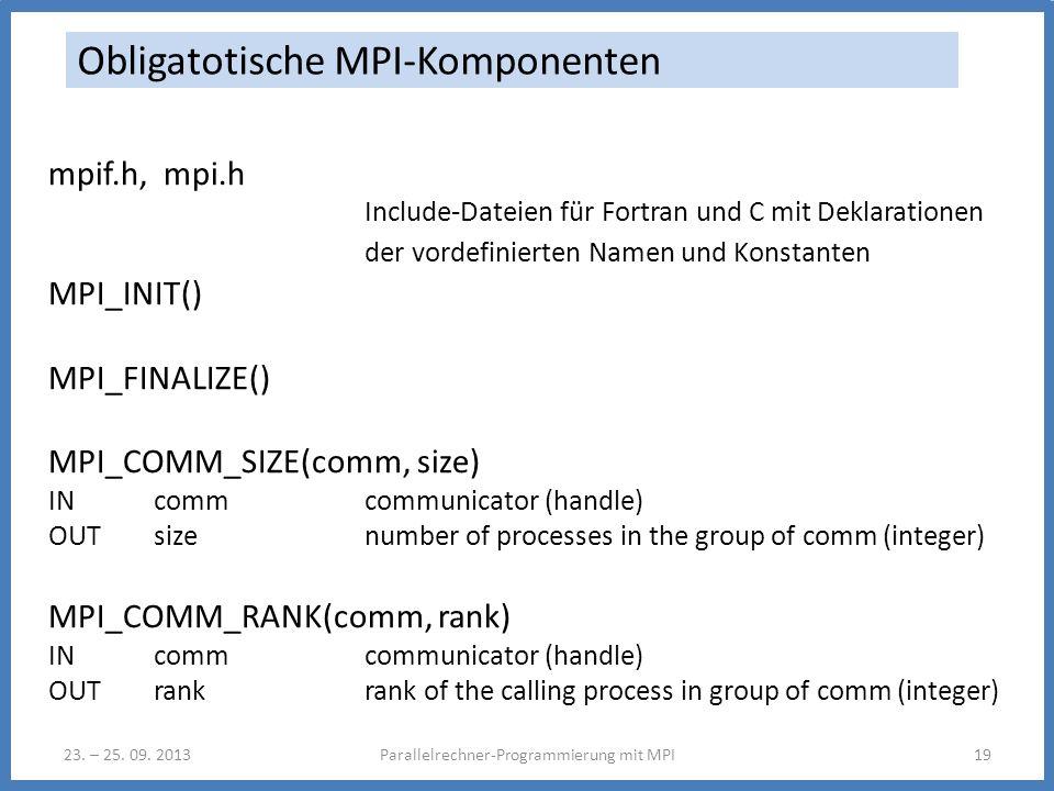 23. – 25. 09. 2013Parallelrechner-Programmierung mit MPI19 Obligatotische MPI-Komponenten mpif.h, mpi.h Include-Dateien für Fortran und C mit Deklarat