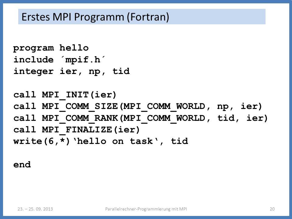 23. – 25. 09. 2013Parallelrechner-Programmierung mit MPI20 Erstes MPI Programm (Fortran) program hello include ´mpif.h´ integer ier, np, tid call MPI_