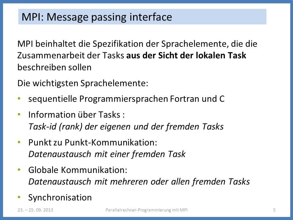 23. – 25. 09. 2013Parallelrechner-Programmierung mit MPI5 MPI: Message passing interface MPI beinhaltet die Spezifikation der Sprachelemente, die die
