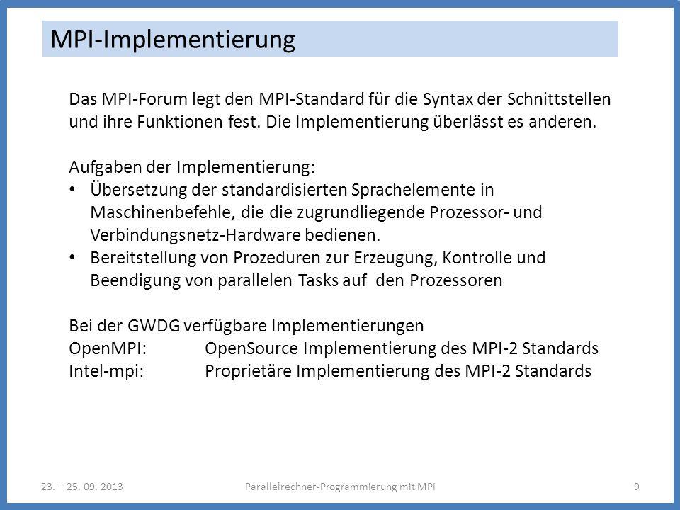 23. – 25. 09. 2013Parallelrechner-Programmierung mit MPI9 MPI-Implementierung Das MPI-Forum legt den MPI-Standard für die Syntax der Schnittstellen un