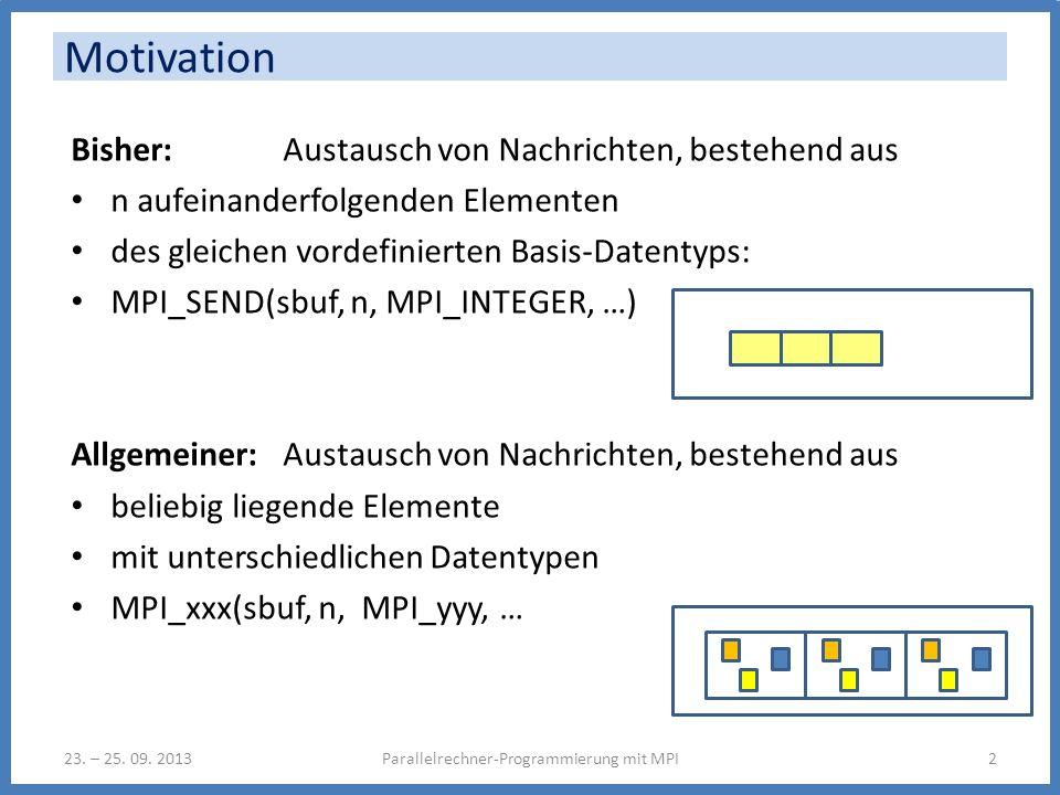 Motivation Bisher: Austausch von Nachrichten, bestehend aus n aufeinanderfolgenden Elementen des gleichen vordefinierten Basis-Datentyps: MPI_SEND(sbuf, n, MPI_INTEGER, …) Allgemeiner: Austausch von Nachrichten, bestehend aus beliebig liegende Elemente mit unterschiedlichen Datentypen MPI_xxx(sbuf, n, MPI_yyy, … Parallelrechner-Programmierung mit MPI223.